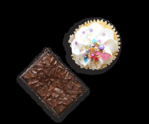 vanilla cupcake and a brownie