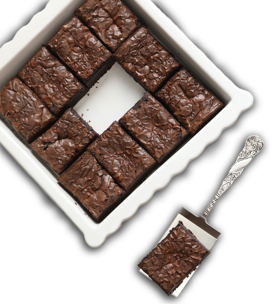 fresh baked brownies in a white dish
